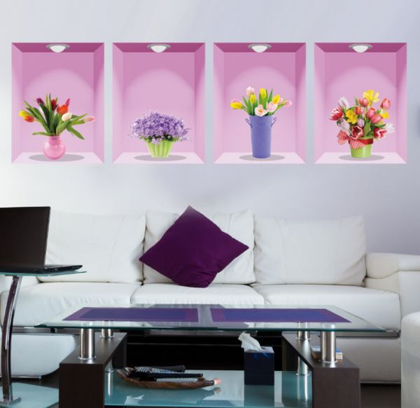 colorful beautiful flowers wall decals, diy wall decor, pvc