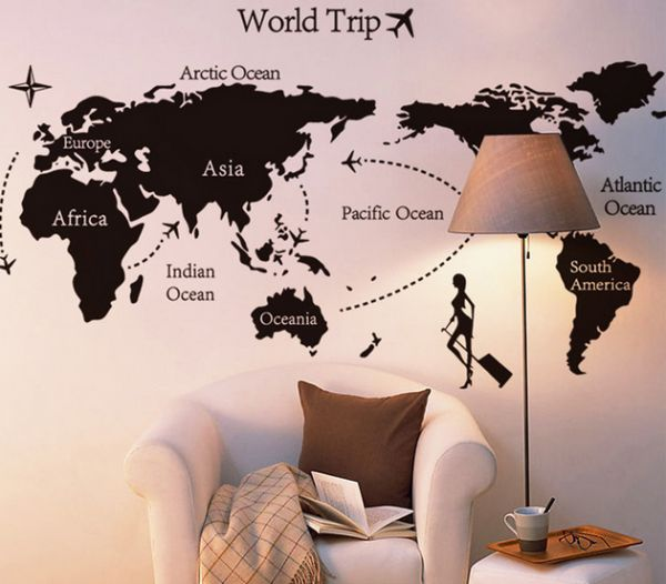 World Map Removable Wall Sticker.Diy World Map Removable Pvc Wall Sticker For Home Living Room