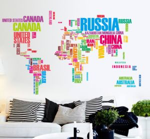 Colorful English Letters World Map Sofa Bedroom Office Background