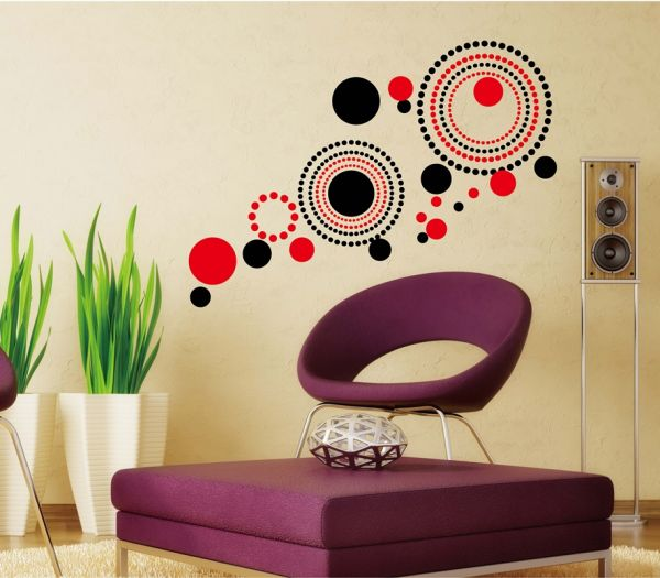 Stickieart abstract red and black circles wall decal medium 50 x 70 cm sta 162