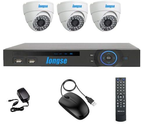 Longse AHD 4Channel P2P DVR Receiver with 3 CCTV Indoor Security Cameras