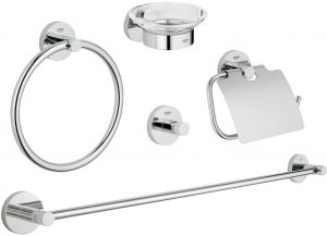 grohe essentials master bathroom accessories 5 piece set - Bathroom Accessories Dubai