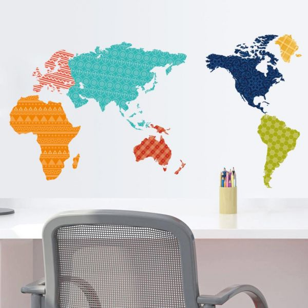 Multi color world map wallpaper removable wall stickers decals multi color world map wallpaper removable wall stickers decals price review and buy in dubai abu dhabi and rest of united arab emirates souq gumiabroncs Image collections