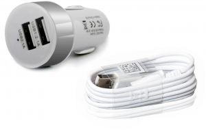 Samsung Series Round Style Dual USB 2.1A Car Charger with Illuminated USB Ports - Silver