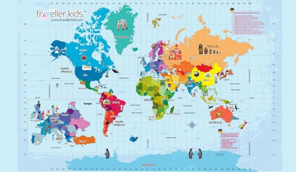 HOP AROUND THE WORLD/GIANT WORLD MAP GAME/Cocomoco  Kids/games/toys/educational/map/around the world/travel games/play  passport/travel diaries/gifts/return ...