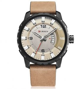 989b39b61a33e Curren 8245 Casual Men Analog Dial Watch With Quartz 3 Dials Waterproof  Leather Strap Watch - Beige