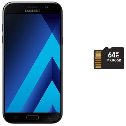 Samsung Galaxy A5 2017 Dual Sim - 32GB, 4G LTE, Black with 64GB micro SD  card
