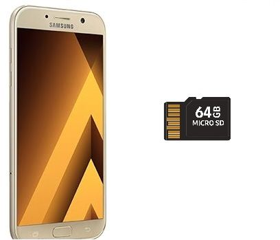 Samsung Galaxy A7 2017 Dual Sim - 32GB, 4G LTE, Gold with 64GB micro SD card