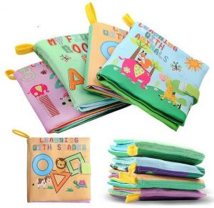 XD-3 Baby Soft Fabric Cloth Book Set of 4 Nontoxic for 0-3yrs Old Babies