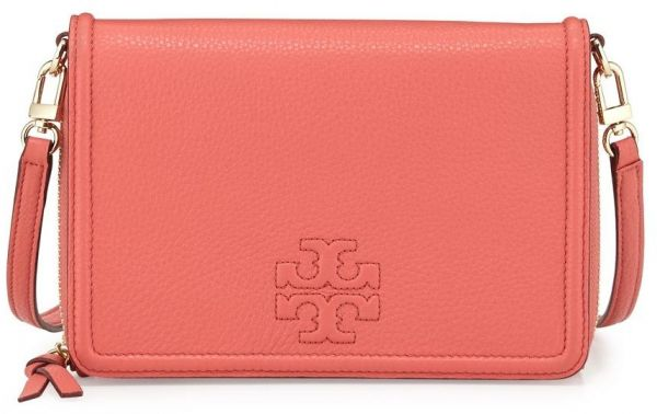 17140f462f8 Tory Burch 11169 -030 Thea Flat Leather Wallet Crossbody Bag in Spiced  Coral