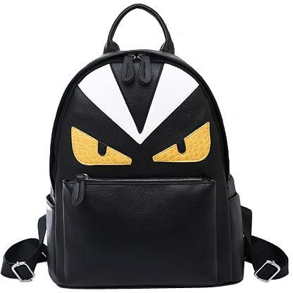 c8f5c726b3ef Demon small monster big eyes backpack PU leather fashion yellow eye backpack
