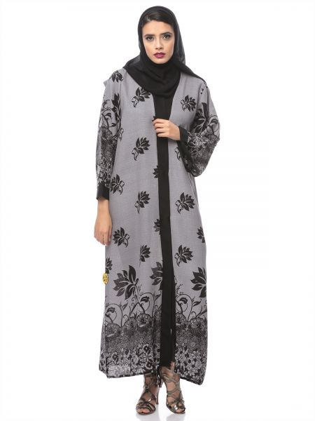 Look Style LS10013f Abayas for Women, Grey/Black