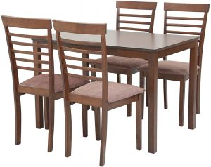 AFT Warm 4 Seater Dining Table With Chairs Chocolate Brown