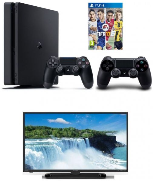 Sony PlayStation 4 Slim - 1TB, 1 Controller and Extra Sony PlayStation  Dualshock 4 Wireless Controller and Fifa 17 by EA Sports and Sharp Aquos 40
