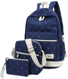 d0305596a9ae Women 3pc Canvas Fashion Outdoor Travel Backpack Bag Blue