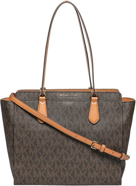 Michael Kors 30f6gtwt4b 200 Monogram Logo Tote Bag For Women Brown