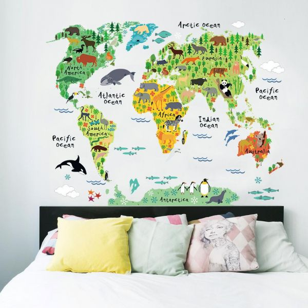 Animals world map wall stickers home decor room decoration price this item is currently out of stock gumiabroncs Gallery
