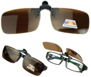 78e20d50a64 Brown Polarized Day Night Vision Flip up Clip on Lens Driving Sunglasses L  Size  BTX-1