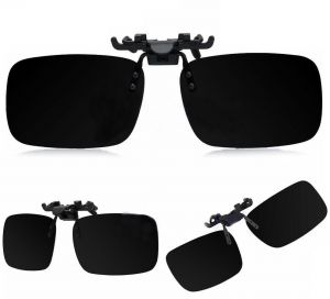 7d32409d53d Black Polarized Day Night Vision Flip up Clip on Lens Driving Sunglasses M  Size  BTX-1