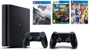 Sony Playstation 4 Slim 500GB Black And Extra Controller FIFA 17 Rocket League Need For Speed Rivals
