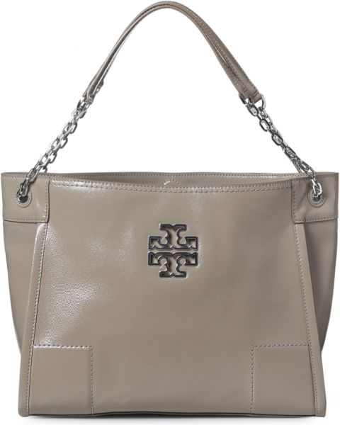 Tory Burch 41159886 040 Britten Slouchy Tote Bag For Women Leather French Grey
