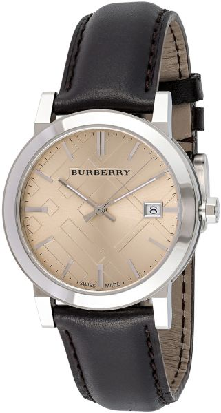 Buy burberry men 39 s gold dial leather band watch bu9011 watches ksa souq for Burberry watches