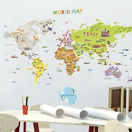 World map with flags and capital of the country self adhesive world map with flags and capital of the country self adhesive removable reusable wall decals gumiabroncs Gallery