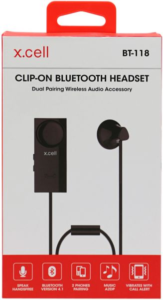 cbabd256139 X-Cell Wireless Bluetooth Headset With Microphone, Black - Bt-118 ...
