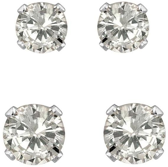 Golden Choice 14k Solid White Gold 2mm And 3mm Clear Cz 2 Pair Stud Earrings