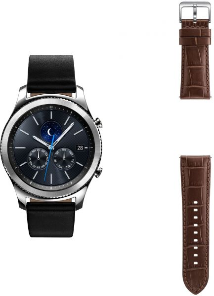 Samsung Gear S3 Classic Smart Watch - SM-R770, Black + One Extra Strap,  Alligator Brown