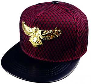 a4fc3eb7993 Eagle Metal Mark Mesh Hip Hop Cap Sunscreen Baseball Hat - Wine Red