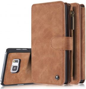 Samsung Galaxy Note 5 Multifunction Wallet Case With 14 Card Slots Luxury Leather Flip Retro Zipper Magnet Phone Cover -Brown