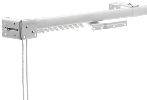 Ultra White Corded Adjustable Curtain Rail With Curtain