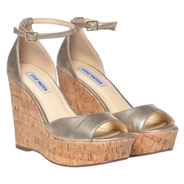 Steve Madden Pandore Wedge Sandals for Woman - Dusty Gold