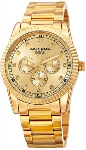 1e570cf01 Akribos XXIV Genuine Diamond Multifunction Men's Gold Stainless Steel Band  Watch - AK958YG
