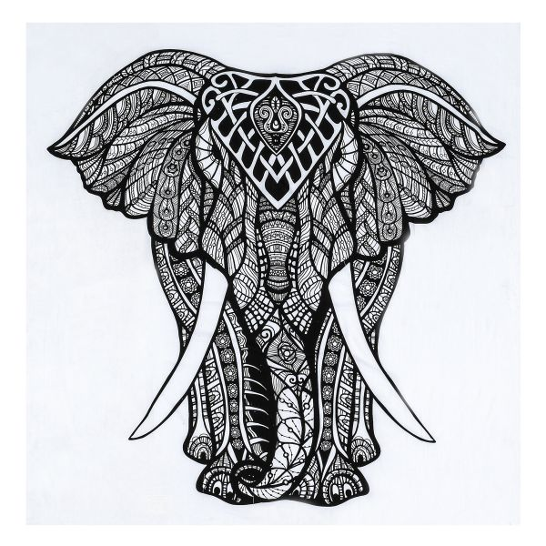 Souq | Nidhi Good Luck Elephant Tapestry Gypsy Wall Decor, Black and ...