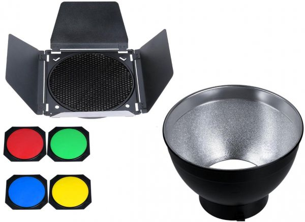 Bowens Mount Reflector With Barn Door Honeycomb Grid And Color Gel
