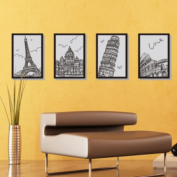 European hand-painted architectural frame Quadruple painting Home ...