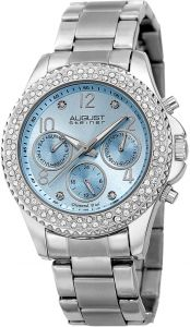 6f742e8f2 August Steiner Diamond Women's Light Blue Dial Stainless Steel Band Watch -  AS8136SSLB