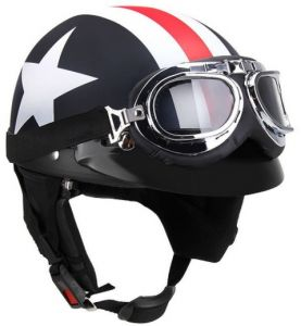 021a405394d Half Open Face Motorcycle Helmet with Goggles Visor Scarf