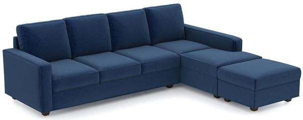 Delightful L Shaped Sofa Bed, Suede Blue   250 X 200 Cm