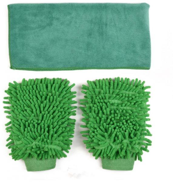 3 Pack Microfiber Car Wash Mitts Cleaning Gloves with Car Polishing Cloth Towel