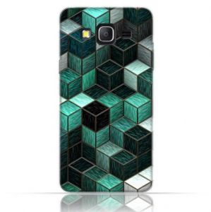 Samsung Galaxy On7 TPU Silicone Case with Cubes Design.