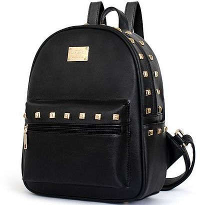 134b67be6ca5 Fashion women girl rivet Studded leather shoulder bag backpack school bag  YY06 black