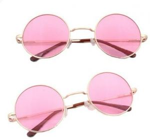 39fec0d87e Circle Round Vintage Style Sunglasses Festival Geek Retro Cyber Gold Frame  Pink Lens