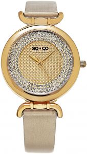 fa03f4770c941 So   Co New York SoHo Women s Gold Dial Leather Band Watch - 5264.2