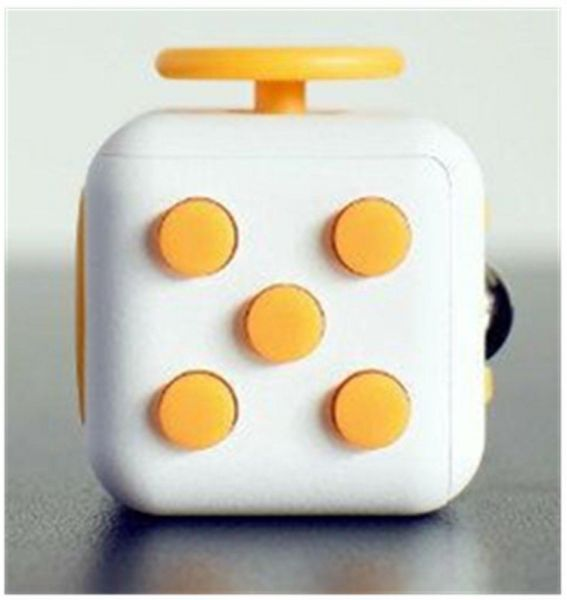 6 Sides Relieve Stress Fidget Cube Anti Anxiety Finger Toy For Children And Adults White Yellow
