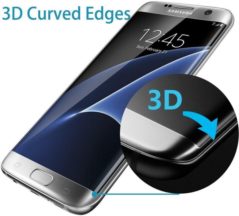 Samsung Galaxy S7 Edge Tempered Glass 3D Curved Screen Protector + TPU Case  Cover Pure Clear