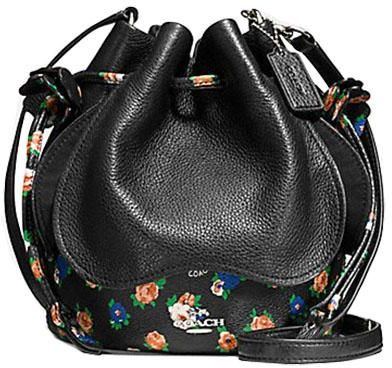 5a1ca70072 COACH F57544 SMALL PETAL BAG IN LEATHER FLORAL MIX SILVER BLACK ...