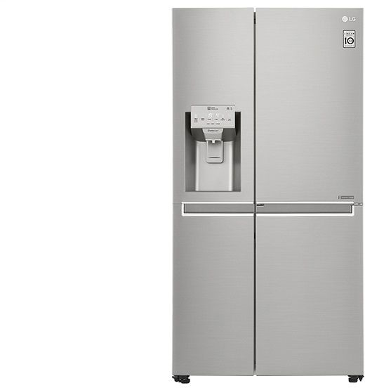 lg refrigerator side by side. lg 614 liters door in side by refrigerator with ice \u0026 water dispenser, steel - gr-j257clav lg